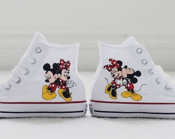 96a539eef0f1 Customizable Disney Mickey Mouse and Minnie Mouse Hand Painted Converse  High Top White Shoes