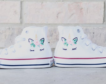 93e98bf35721 Customizable Children s Unicorn Hand Painted Converse Kids High Top White  Shoes - Baby Toddler Little Big Kids - Colorful Magical Majestic