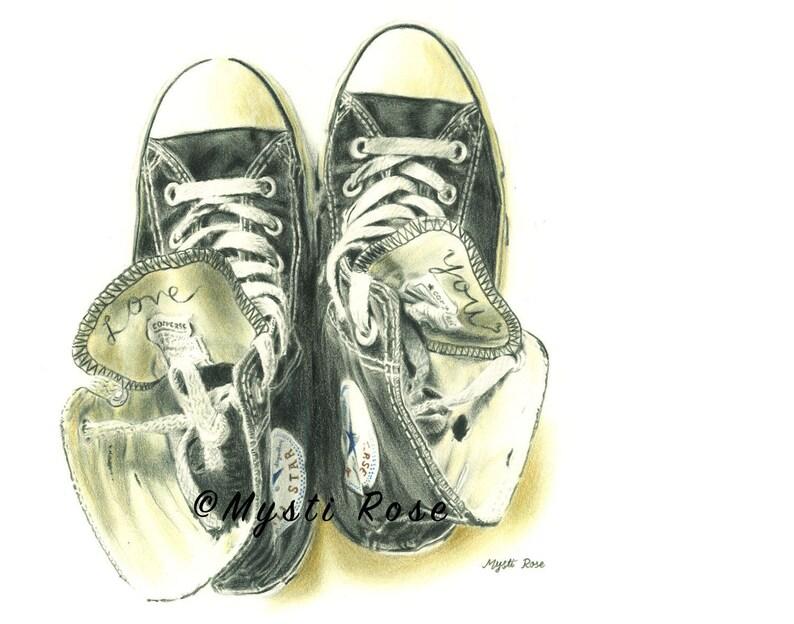 Couleur Dessin Chaussures Estampe Converse Art MuralEtsy Crayon dxhrCostQB