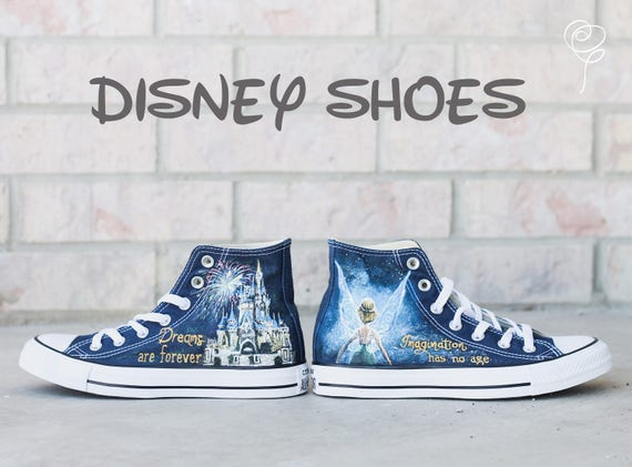 Customizable Disney Hand Painted Converse Shoes Tinkerbell  7b6b41c6f