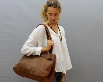 Sale!!! Soft leather tote bag Brown Leather shoulder bag Tote Handmade bag
