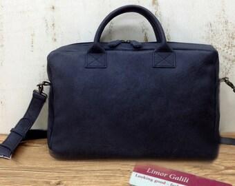 "Sale!!! Black Leather Messenger Bag, Distressed leather laptop bag 15"" laptop / Macbook  bag men, Women's leather laptop bag, Messenger bag"