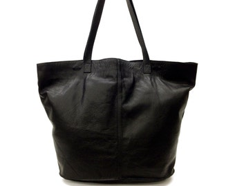 Sale!!! Black Leather tote bag Oversize premium nappa leather bag