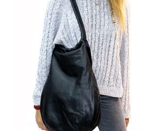 Sale!!! Slouchy leather hobo bag Soft black leather tote Large Black Leather handBag Leather hobo purse
