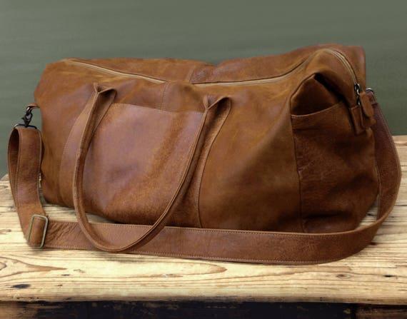 5cdb1ad2a6c6 SALE Brown Mens Travel Bag Groomsmen Gift Men s Overnight