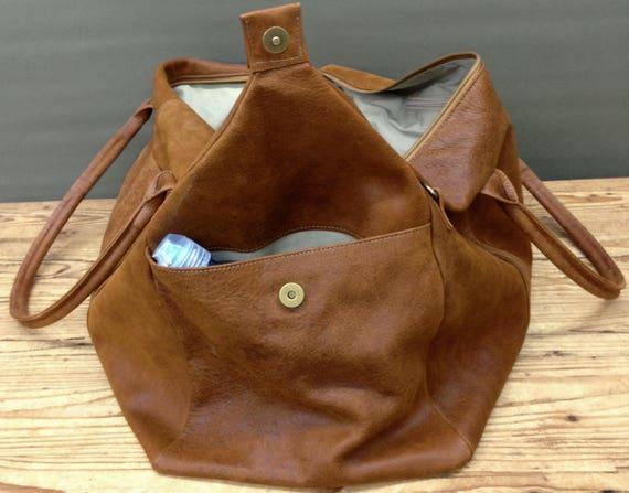 SALE Large travel bag overnight leather bag weekender bag gym  54ab9202fac3a