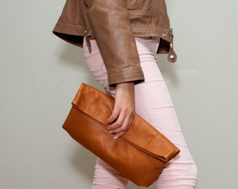 Sale!!! Brown Leather clutch Foldover Clutch purse Leather evening bag Fold over purse bag Small handbag leather Women's gift