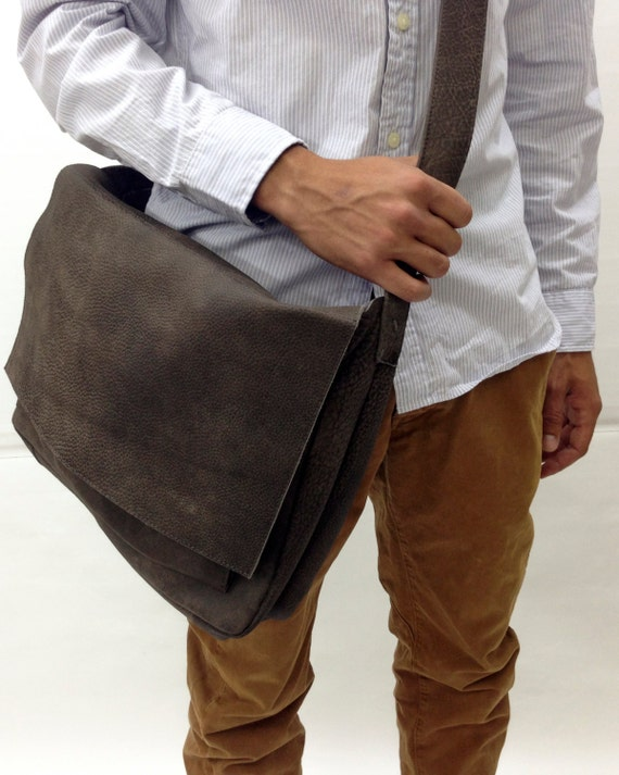 aaae39d80201 Sale Handmade grey Distressed Leather Messenger Bag