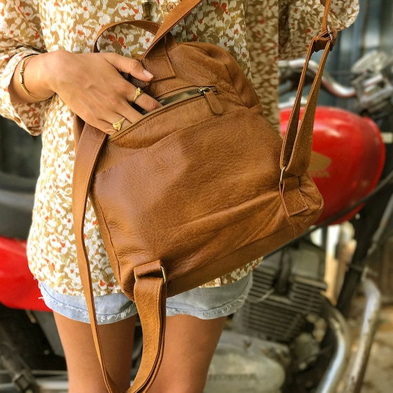 845493e6c0 Brown Leather backpack purse Women laptop backpack Woman side