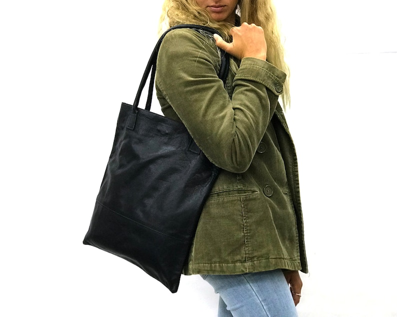 aa6fe95a136 Black leather bag black tote purse lightweight Shopper tote Thin Shopper  tote bag Soft Leather shopper tote purse shopper