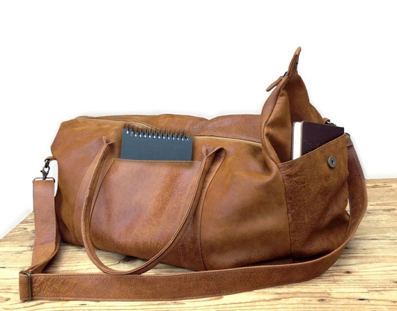 Sale Distressed Brown leather duffel bag leather duffle bag   Etsy 201cd4f1e4