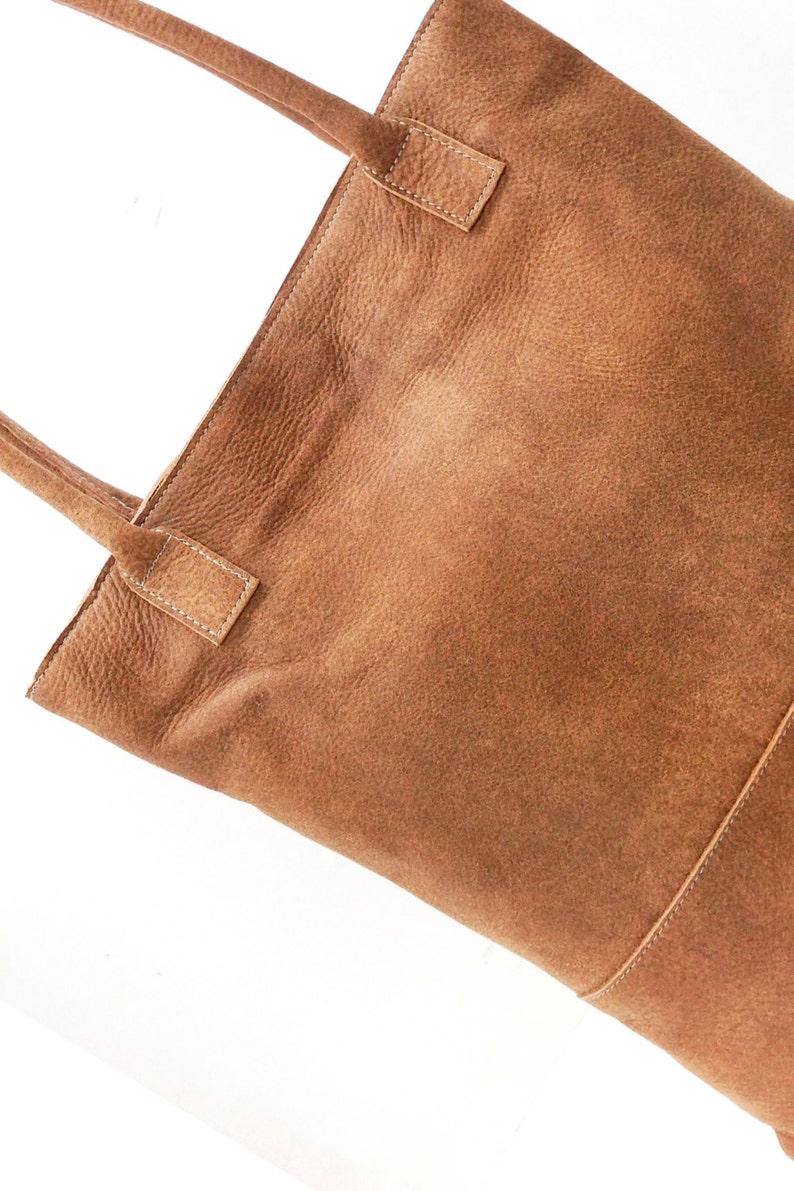 Brown leather tote bag carry all shopper tote lightweight shoulder bag Sale!!