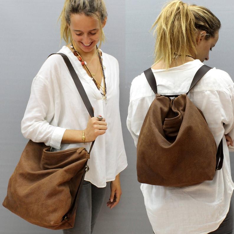 Sale!! leather backpack Crossbody convertible backpack purse Distressed brown  Shoulder bag Hobo handbag bag Handmade with love! d55ff6d92b362