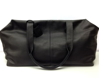 Black Leather Weekend bag Overnight Duffle Leather Travel Bag Leather Holdall Flight cabin bag