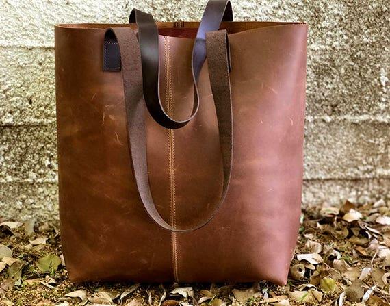 Sale brown leather tote bag Large Leather handbag Leather  d048e9d1afcef