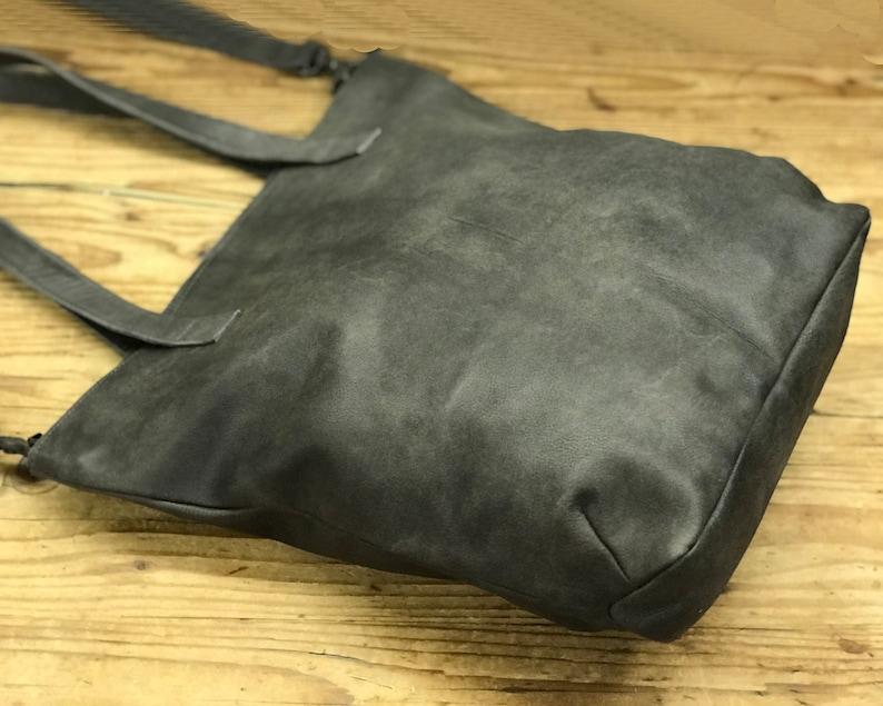 Women leather shopper tote bag Leather Crossbody tote Leather tote bag Handmade Tote Grey Leather Bag Bag tote women