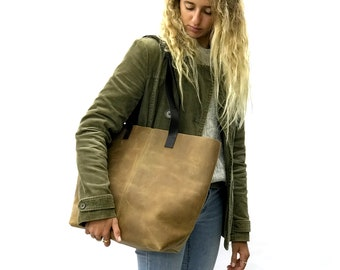 Distressed brown leather tote bag, Leather bucket bag, Vintage Brown Tote, brushed sturdy leather bag