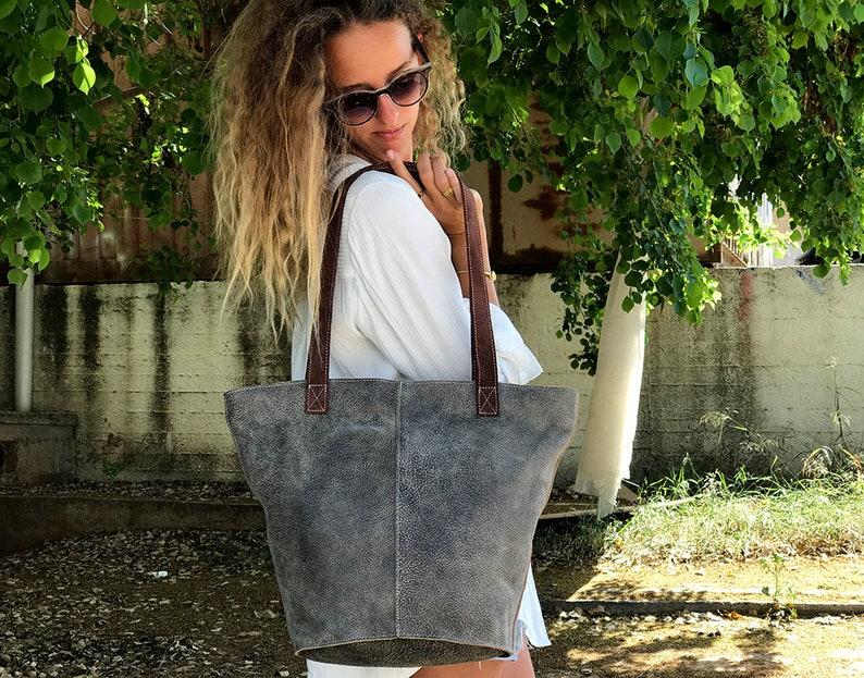 Sale!! Leather shopper bag zipper Gray Extra large leather tote bag purse XL bag purse handmade tote