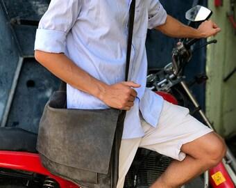 """Sale!!! Distressed grey Leather Messenger Bag, 15"""" messenger bag men, mens leather laptop bag, leather laptop messenger bag men"""