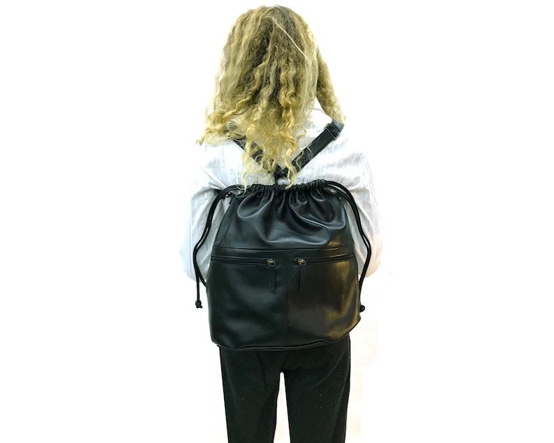 Black Drawstring backpack leather Drawstring bag Women shoulder bag Zippered pockets Men Rucksack