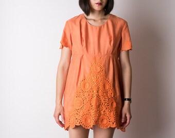 4e0c9106afc7 vintage 1960s MOD orange pop embroidered cut-work mini DRESS lolita  parisian floral twiggy 60s s