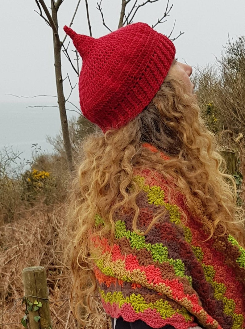 fire pixie hat handmade from Alpaca