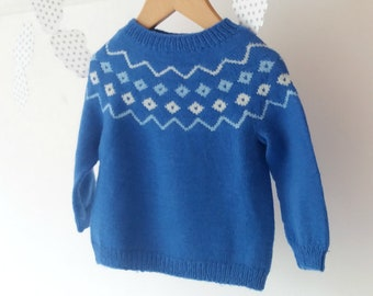 Knit baby sweater / Knitted baby clothes / Faire isle sweater