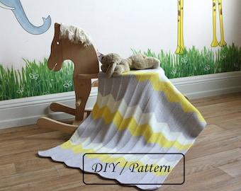 Knit baby blanket pattern / baby blanket pattern / baby blanket knitting pattern / chervron baby blanket