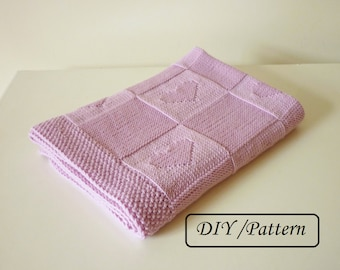 Knit baby blanket pattern / baby blanket pattern / baby blanket heart pattern / baby blanket Charlotte