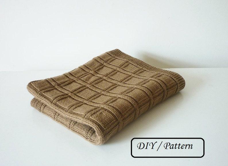 Knit baby blanket PATTERN / beginner blanket knitting PATTERN image 0