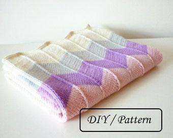 Knit baby blanket pattern / baby blanket pattern / chevron pattern / baby blanket Daniella