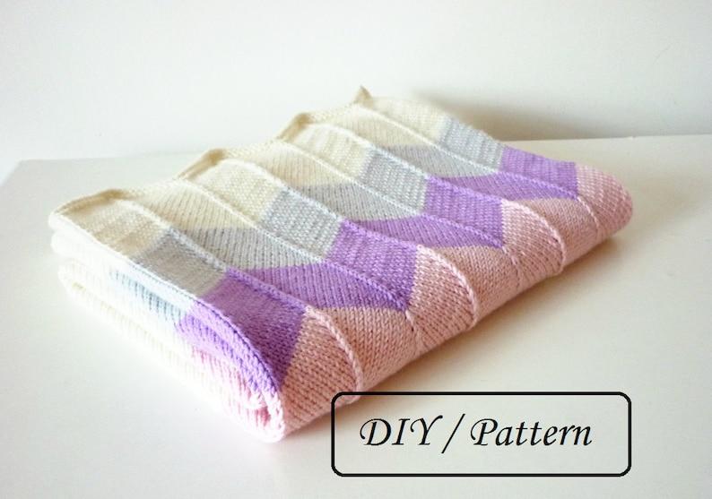 Knit baby blanket PATTERN / Chevron baby blanket PATTERN / image 0