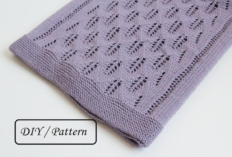 Knitting PATTERN baby blanket / knit baby blanket pattern / image 0