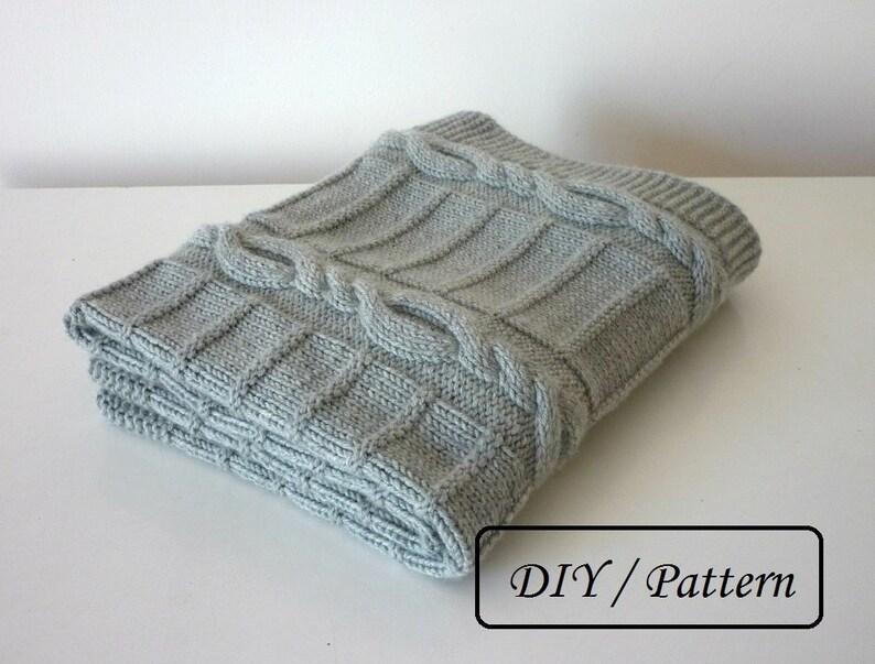 Knit baby blanket PATTERN / baby blanket PATTERN / cable knit image 0