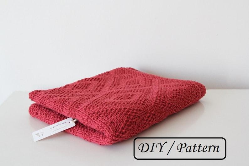 Baby blanket PATTERN / Diamond baby blanket knit PATTERN/ baby image 0