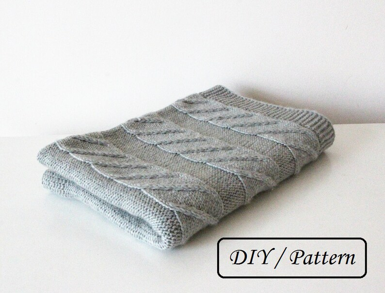 Knit baby blanket PATTERN / cable baby blanket PATTERN / baby image 0