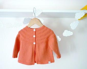 Hand knit baby cardigan / Pink baby cardigan / Knitted baby clothes / Merino wool knit baby cardigan