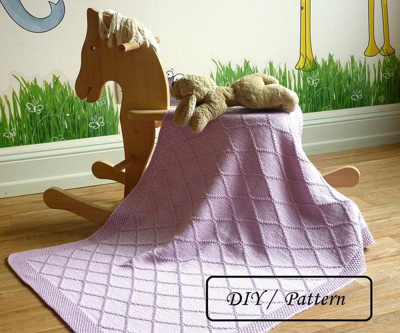 Knit baby blanket PATTERN / easy knit blanket PATTERN / baby image 0