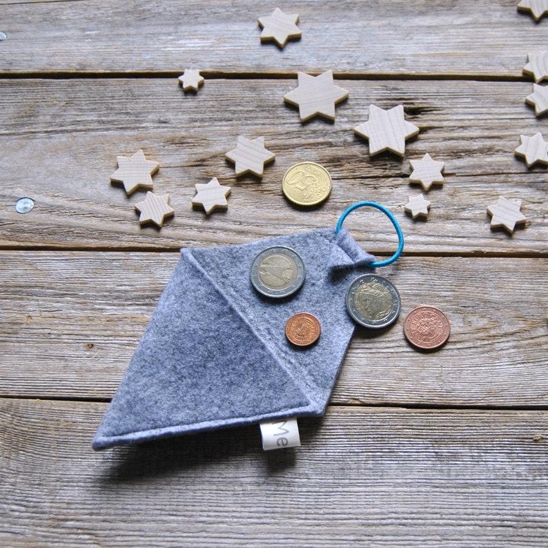 Gray felt triangle coin and earphone holder
