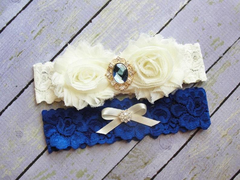 Toss Garter Dark Blue Garter Ivory Garter Bridal Garter Royal Blue Wedding Garter Garter Set Something Blue Keepsake Garter