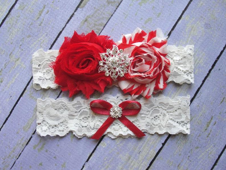 Keepsake Garter Red Garter Ivory Red Garter Wedding Garter Stripe Wedding Winter Wedding Christmas Garter Bridal Garter