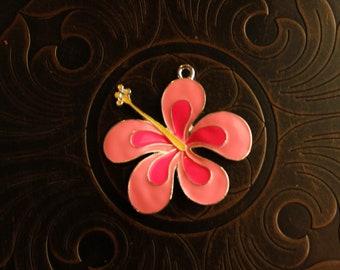 Enamel Tropical Flower Pendant for Chunky Bubblegum Necklaces