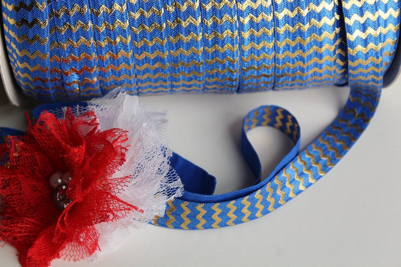 5/8 Fold Over Elastic FOE Royal Blue with Small Gold image 0