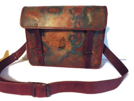 Hand Painted Leather Satchel, Old World Map & Schooner, Handmade Messenger on map shoes, map luggage, map boots, map crossbody, map skirt, map phone case, map jacket, map scarf, map white, map trunk, map suitcase, map wallet, map sweater,