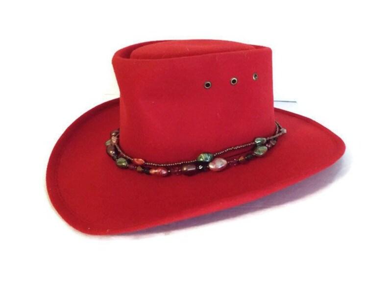 e45839ce8d7df Cowboy Hat Western Express Inc in Red Felt Size 7 Vintage