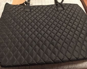 Quilted black tote bag personalized