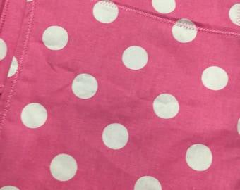 Pink polka dot pocket square handkerchief