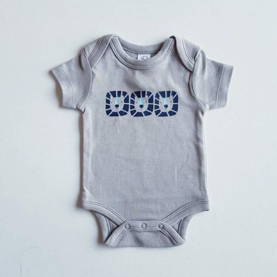 30d900602f86 Blue Lions Short sleeved Organic Onesie Bodysuit. Grey