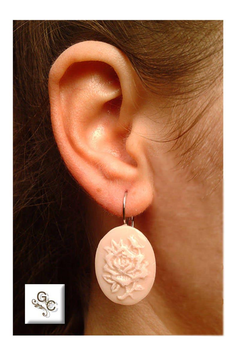 Gift for Her White Rose Cameo Bridal Earrings Rose Earrings Love Cameo Bridal Earrings Rose Cameo Earrings