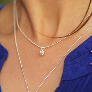Bubble DNA Discreet sterling silver tiny balls necklace Multi strand necklace Handmade Vertical bar pendant Minimalist pendant Charm